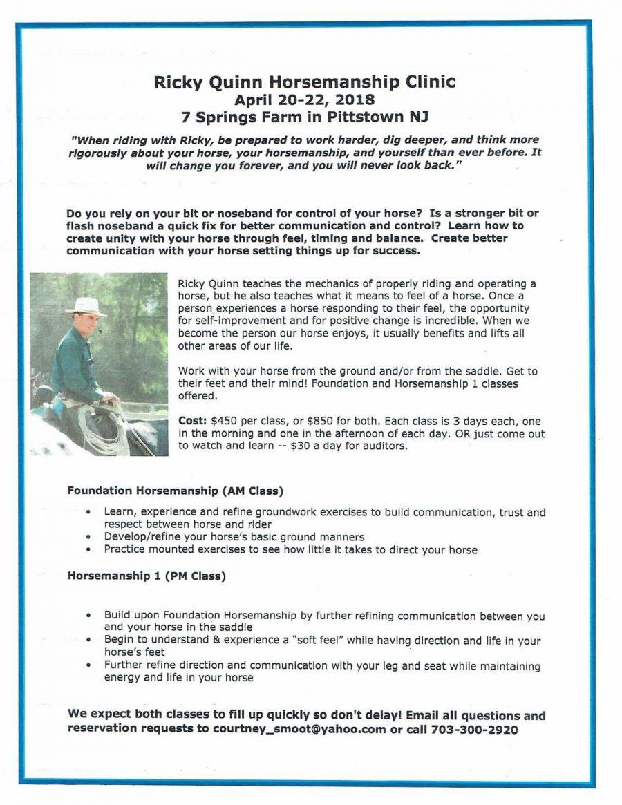 7 Springs Farm Flyer (2018-04-20 - Ricky Quinn Horsemanship Clinic)
