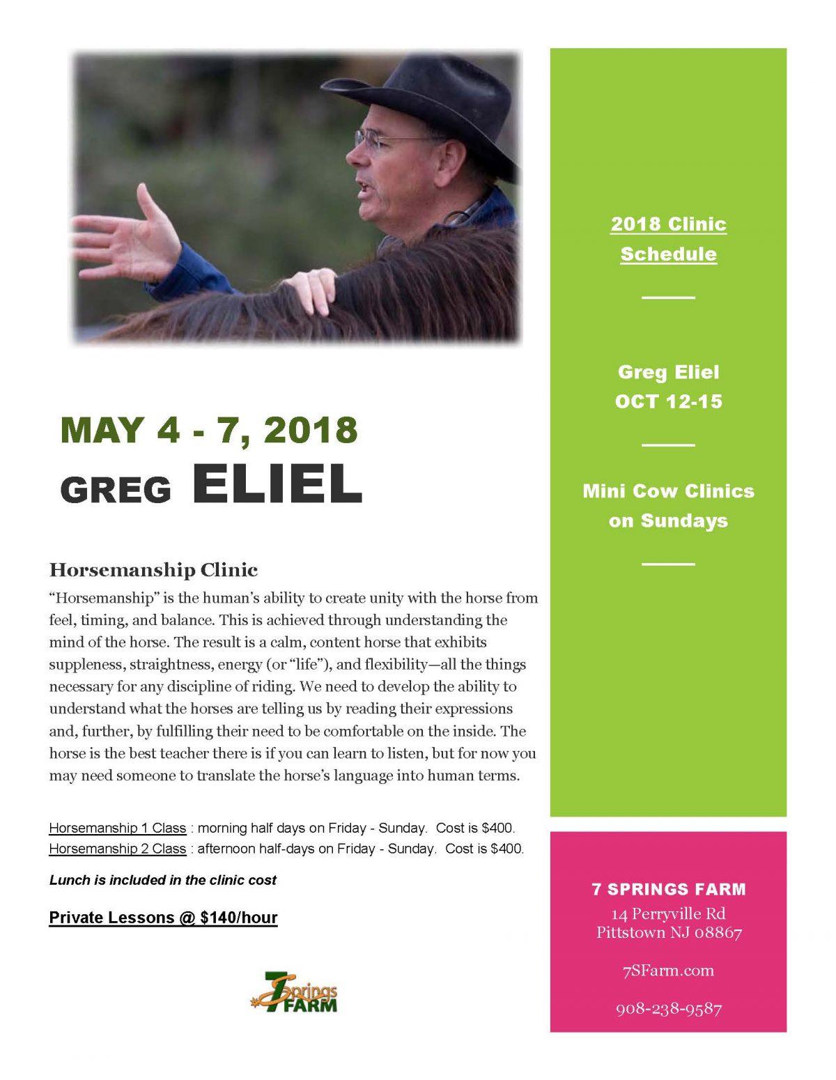 7 Springs Farm Flyer (2018-05-04 - Greg Eliel Clinic)