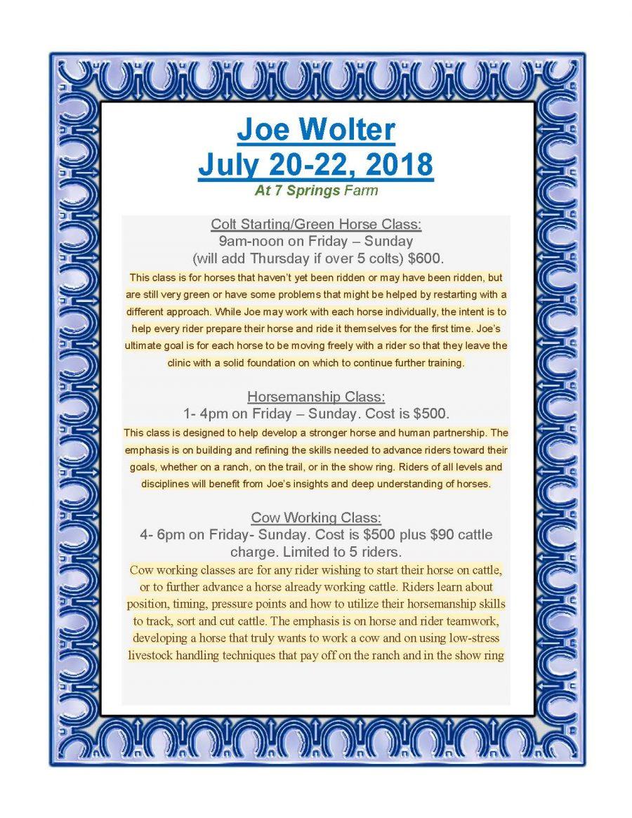 7 Springs Farm Flyer (2018-07-20 - Joe Wolter Clinic)